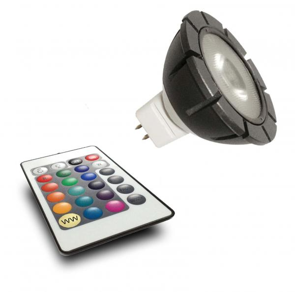 MR16 RGB Power LED 12V 3W + Fernbedienung